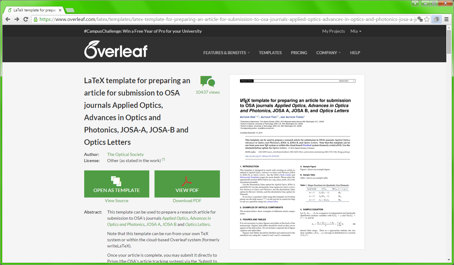 Template d'un article pour Overleaf